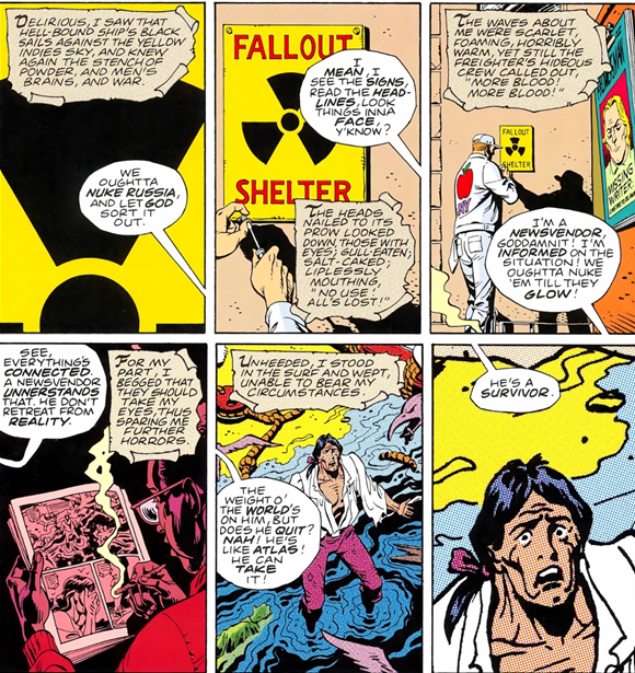 Panels from Watchmen showing the overlap of diegetic levels.