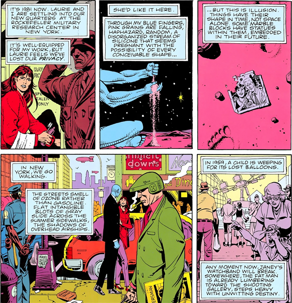 Panels from Watchmen showing the juxtaposition of different moments in time.
