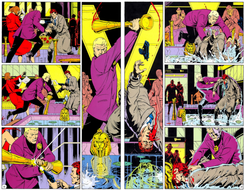 Two pages from Watchmen with perfectly symmetrical panel layouts.